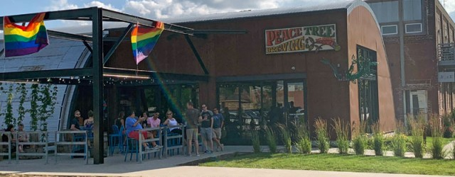 (Downtown, Des Moines, IA) Scooter's 1352nd bar, first visited in 2019. There were a crap-ton of cyclists here. And, despite the rainbow banners outside, in one corner was a small...